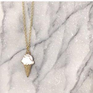 Ice Cream Cone Vanilla Charm Necklace Gold